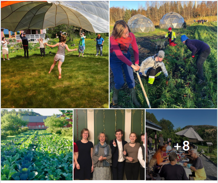 Mennesker i arbeid og lek på Vallersund Gård
